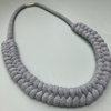 Macrame Chunky Necklace - Polly - handmade, 100% Recycled Cotton - Colour Light Grey
