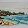 Cornwall Beach Holiday, Quick postcard size watercolour sketch