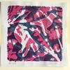 'Pink Birds' Gel print made using pressed botanicals and handmade bird shapes.