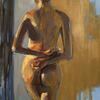 Gabina's winning pose. Life Drawing oil painting/female/figurative