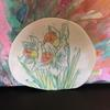 Porcelain Plate. Wall hanging option available with attachments on the back. 18cm wide