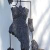 Mermaid In Love 2009 - slate pebbles, steel, metal mesh, nylon thread, log