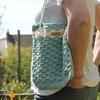 Crochet Day Bag - Samantha - handmade, 100% Cotton - Colour: White/Baby Blue