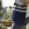 Crochet Day Bag - Samantha - handmade, 100% Cotton - Colour: Light Grey/Navy Blue