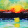 Sunset in summer: seascape, acrylics on canvas, 80x60cm £120