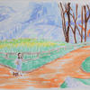 Dorothy in Oz - watercolour on canvas.