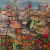 Dorset Wallflowers mixed media textile