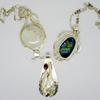Sterling silver pendants. Moonstone, Labradorite, Large residual pearl with garnets.