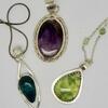 Chrysocolla, Amethyst and Prehnite pendants.