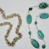 Sterling silver necklace with jasper. Sterling silver necklace with howlite and turquoise.