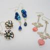 Mixed metal and pearl flower earrings, Lapiz Lazuli and glass earrings, Sterling silver with pink glass hearts earrings.
