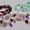 Rough garnet, Sea glass and banded blue agate, Rough amethyst necklaces with sterling silver clasps.