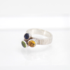 Stripes textured ring with citrin, peridot and iolite gemstones, Sterling silver
