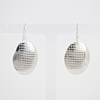Oval earrings with textile texture, large, Sterling silver