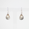 Drop shaped patterned earrigns with mini pearls, Sterling silver