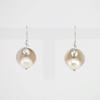 Pearl earrings with leaf texture, Sterling silver