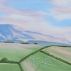 Welsh Black mountains with fields and sheep oil on canvas