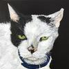 Tom, acrylic painting, a cat who has enjoyed life.