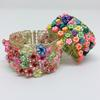 Knitted wire and Fimo flower bead bracelets