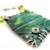 Enamel on copper pendant with silver an glass beads