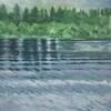 Patterns in water across Loch Ken. Acrylic gouache on paper; 28 x 28cm.