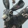 Large stoneware leaping hare with blossom, ceramic sculpture. 45cm long. £290