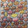 """""""Cats operating in gangs"""" acrylic on stretched canvas"""
