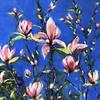 Pink Magnolia -  soft pastel painting on pastel mat paper.