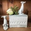 Celadon flower brick with hounds. Stoneware. £120