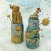 Stoneware vases with tiny animal lids. 15cm tall. £25 each