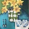 Spring daffodils with spoons