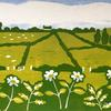 Fields and flowers, Kilkeaveragh - hand printed reduction linocut