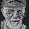 The Old Fisherman - layered cheesecloth portrait