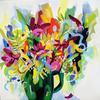 Flowers in Green Jug, 40 x 40cm. Acrylic on canvas.