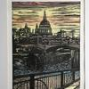 Thames Walk. Lino Print with chine colle.  Frame size 47cm x57cm. £95.00