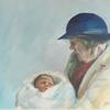 Generations. Grandmother and baby. Acrylic on paper