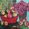 'Green Apples' - a mixed media still life on paper. 39 x 30 cm.