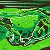 Green Frog ~ reduction linocut
