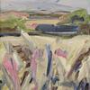 'Grey Barn' oil on canvas, 31 x 26 cm. Distant North Hertfordhire farm buildings.
