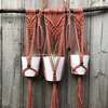 Macrame Hanging Pot Holder - handmade from recycled cotton - Colour: Rust