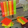 Original fused glass platter and coasters in bright citrus colours