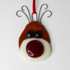 Fused Glass Rudolph Christmas Ornament