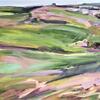 'Heath 4' oil on linen, 56 x 91 cm.  A blustery, bright day on Royston Heath.