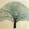 'Spreading Tree' - blockprint on brown paper
