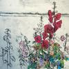 Hollyhocks by Anna Perlin, Collagraph