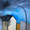 Berlin Street in Winter - mixed media on canvas - 50 x 50cm