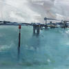 Bleak weather in Ramsgate harbour. Acrylic on ply board ( NOW SOLD )