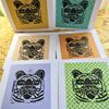 Tiger Linocut Print on Colourful Collage Greeting Cards