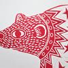 Starry Polar Bear Linocut Print on Paper