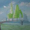 """Island city"" - Reduction linocut - 1/7 - Varied edition"